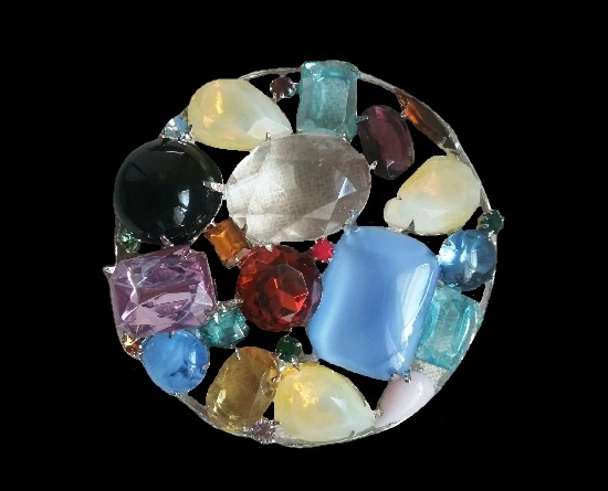 Multicolor glass cabochons round shaped brooch