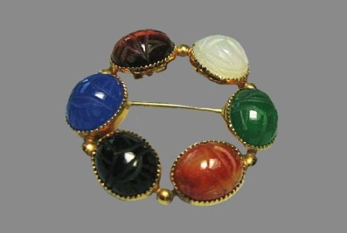 Multicolor glass cabochons wreath brooch. Gold Plated Sterling Silver