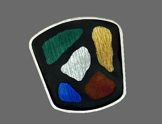 Multicolor vintage brooch. Sterling silver, black, green, red, blue and white enamel. 1950s