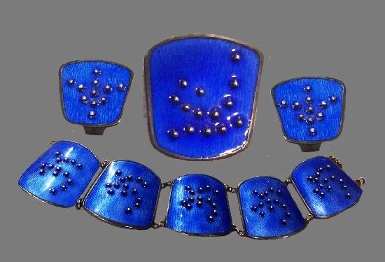 Navy blue enamel sterling silver bracelet, brooch and earrings