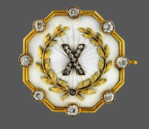 Olive branch and X brooch of gold and diamonds