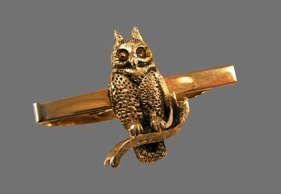 Owl tie clip. Textured sterling silver, rhinestones