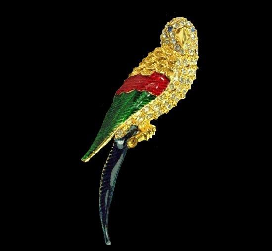 Parrot brooch. Gold tone metal, enamel, crystals