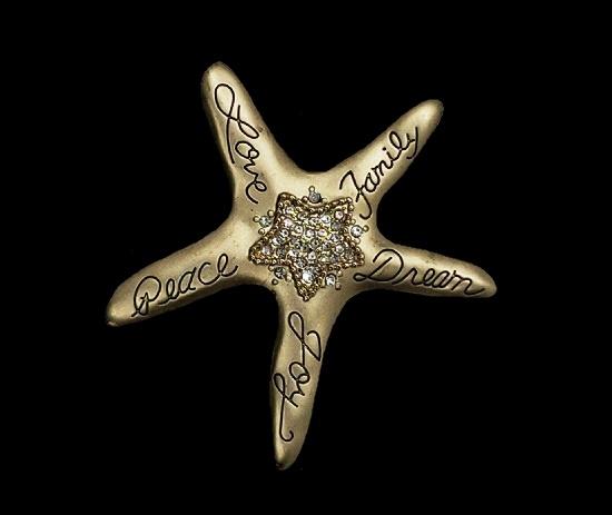 Peace love family dream joy signed starfish brooch. Gold tone, rhinestones