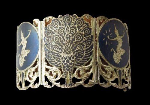 Peacock and dancer wide bracelet. Sterling silver, enamel