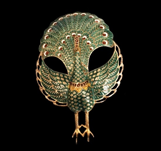 Peacock brooch. Sterling silver, Turquoise