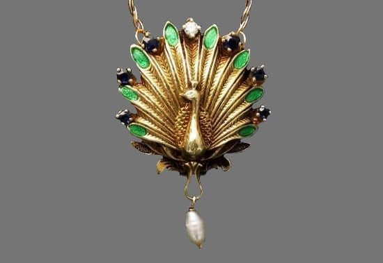Peacock pendant. Gold, diamonds, pearl, ruby