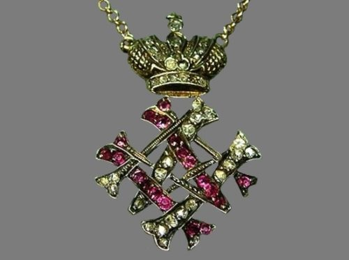 Pendant with the monogram of the Grand Duchess Maria Maximilianovna. Gold, rubies, rose-cut diamonds. St. Petersburg, late 19th century. Russian National Museum