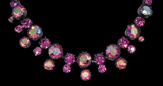 Pink Aurora borealis stones vintage necklace