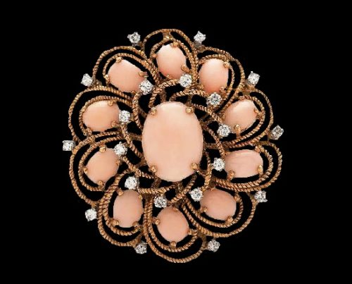 Pink coral 18 K gold and diamond floral design brooch