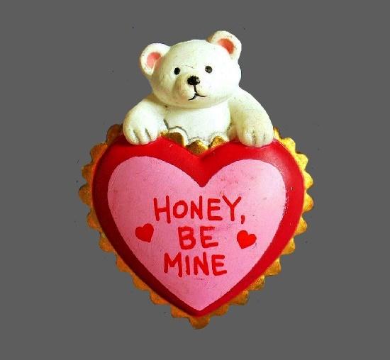 Polar bear Honey be mine brooch pin