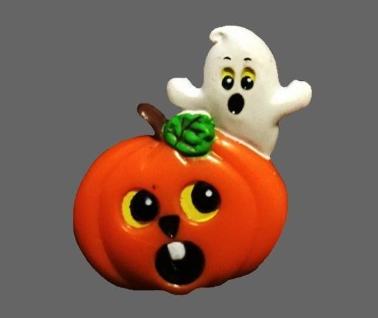 Pumpkin, devil and witch Halloween brooch