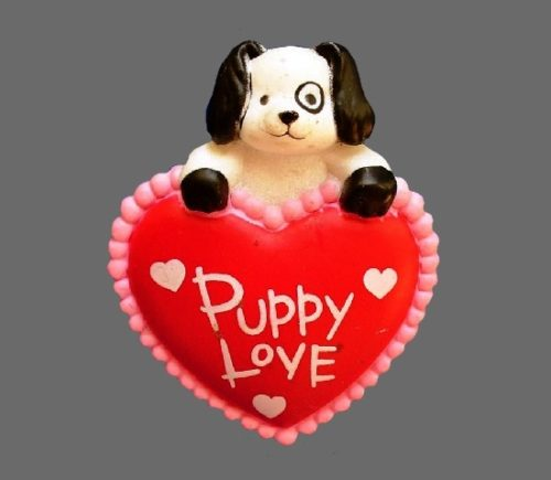 Puppy love holiday brooch pin