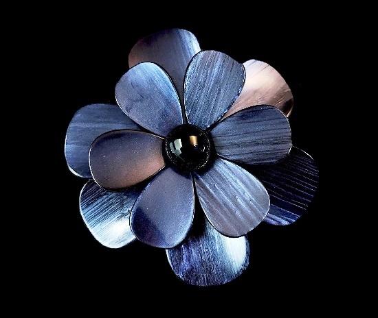 Purple lucite flower black onyx brooch