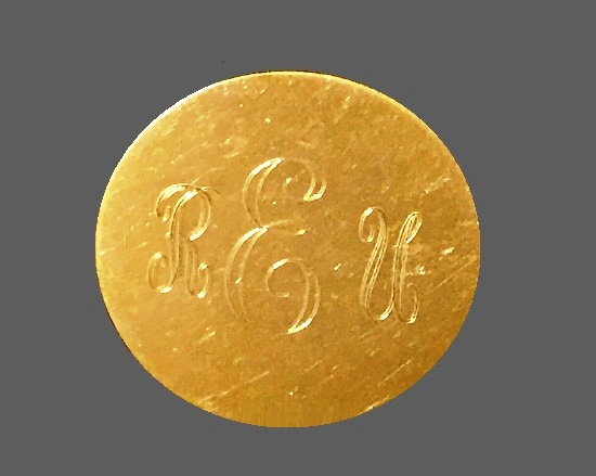 REU Monogram Pin. 12 K gold filled