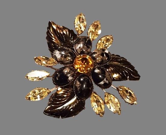Rhinestone flower brooch. Jewelry alloy, art glass, rhinestones, enamel