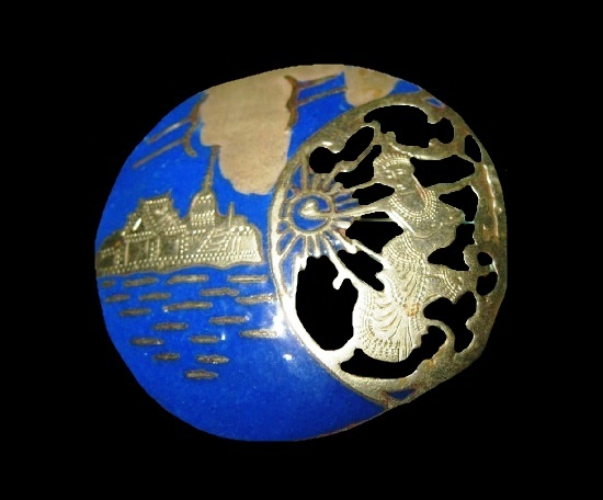 Round shaped Goddess and ocean blue enamel sterling brooch