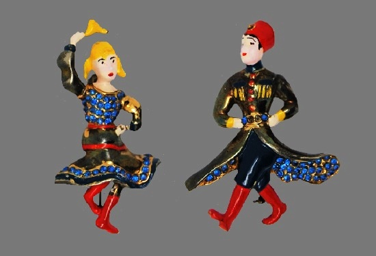 Russian Cossack Dancers figural brooches, Hess-Appel's 1943 patented design, book piece. Sterling silver, enamel