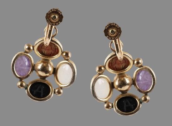 Screw back earrings. 12 K gold filled, lucite