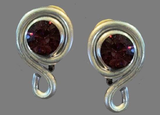 Silver tone Swarovski crystal clip on earrings
