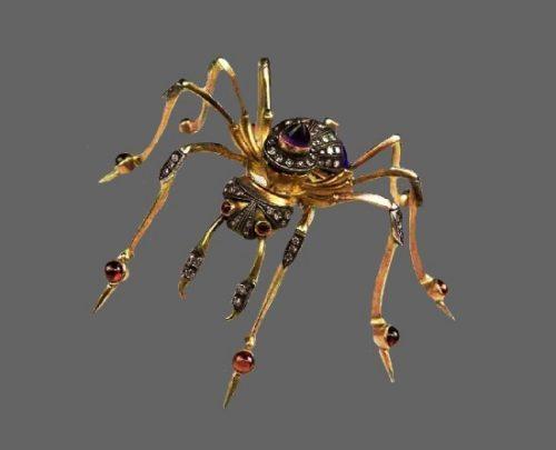 Spider brooch. Gold, diamonds, amethyst, ruby