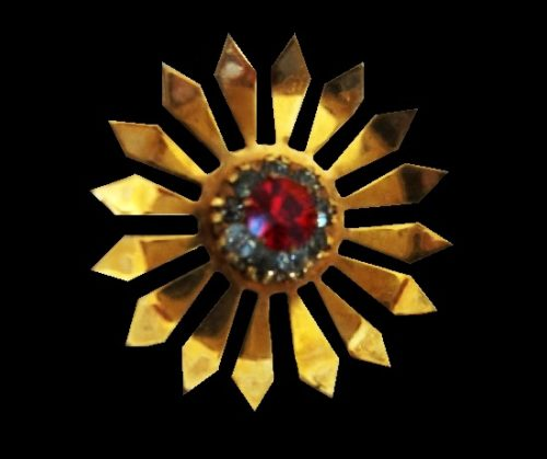 Sunflower brooch of gold tone, 12K gold filled, crystals