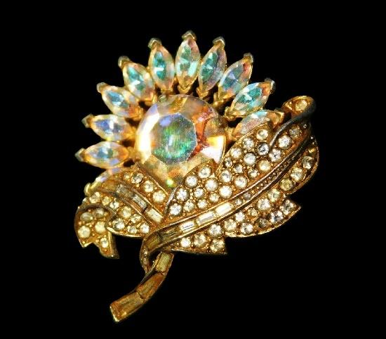 Sunflower brooch. Gold tone, Aurora borealis rhinestones