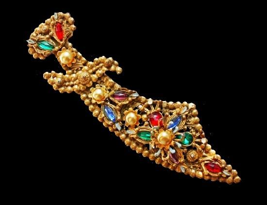 Sword brooch. Gold tone, faux pearls, rhinestones