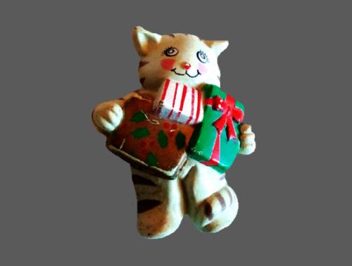 Tabby Cat Bearing Gifts brooch. Enameled Resin. 1960s