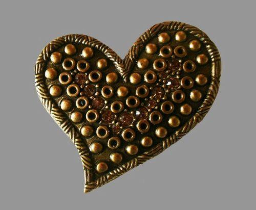 Textured heart bronze tone rhinestones brooch