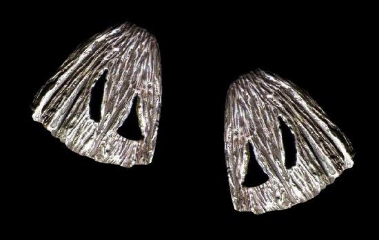 Textured sterling silver brutalist earrings. 1970s