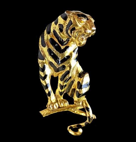Tiger brooch from 'The Jungle Book', Alexander Korda design. 1942. Gold tone, black enamel. 8 cm