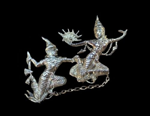 Traditional Siamese dancers paired brooch. Sterling silver