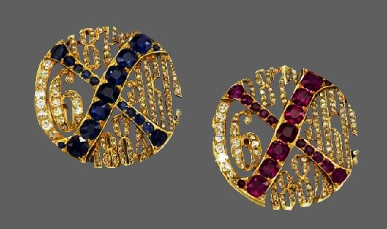 Two cufflinks. Gold, rubies, sapphires