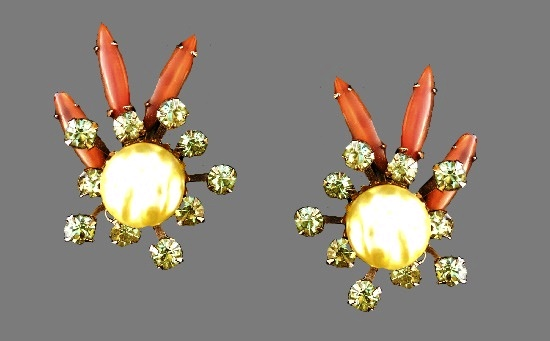 Vintage clips. Gold tone metal, coral color art glass, clear rhinestones