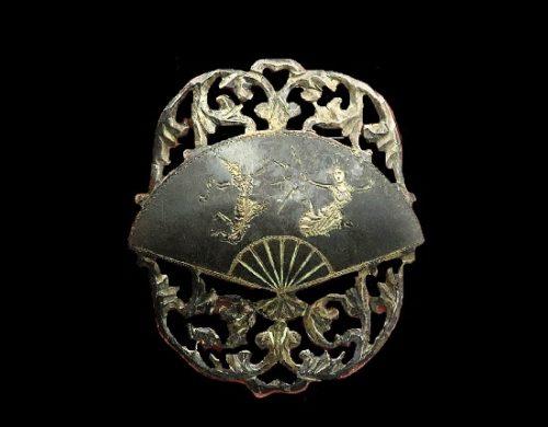 Vintage enamel Niello dancer brooch pin. 925 Sterling silver