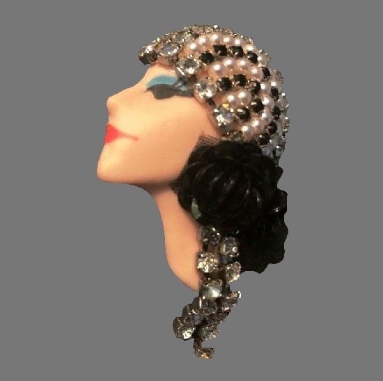 Elvira & Jackie porcelain face vintage brooches
