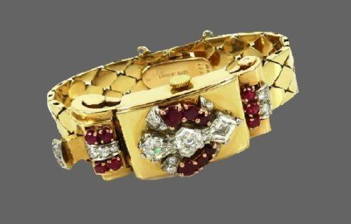 Watch bracelet. Diamond, ruby, 14 K gold. 1950's
