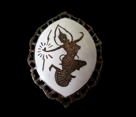 White enamel sterling silver Siamese dancer brooch