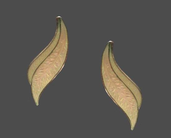 White leaf earrings. White enamel sterling silver