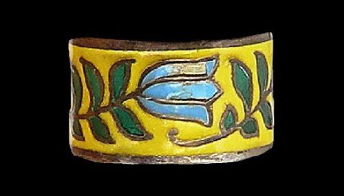 Yellow enamel coated tulip flower band ring
