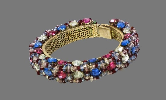 1930's Blue Pink Crystal Beaded Bangle Bracelet