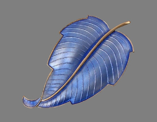 1960s Blue Guilloche Enamel Sterling Leaf Brooch