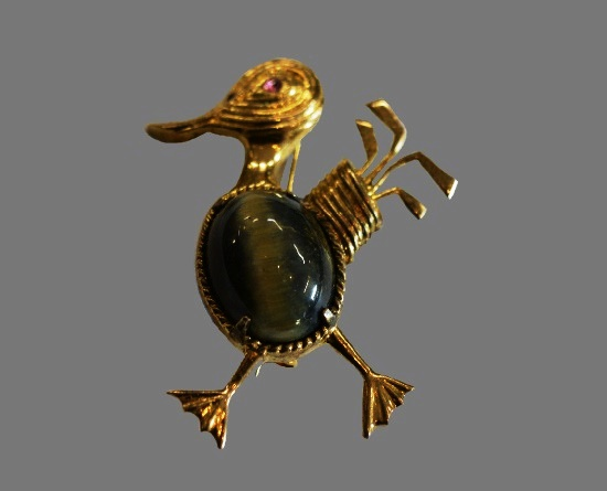 1960s bird pin. Sterling silver, gold filled, green stone