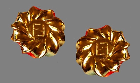 1980s vintage clips of gold tone, 24 gold plated