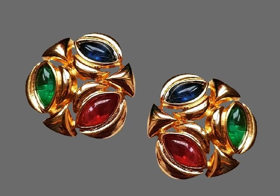 1990s gold tone art glass clips. 3.2 cm