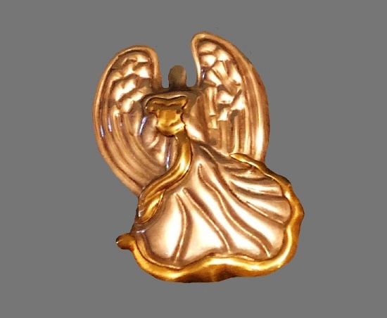 Angel brooch pendant. Sterling silver, brass