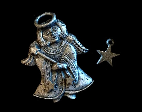 Angel pewter brooch and earrings