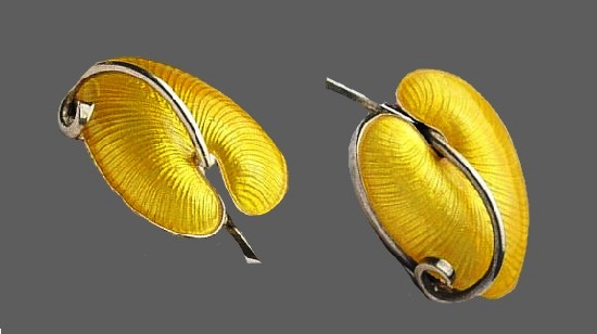 Anthurium leaf earrings. Sterling silver, yellow enamel. 1950s