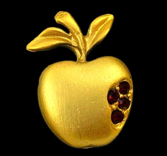 Apple pin. Gold tone, rhinestones